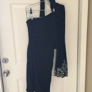 Black/Rhinestone one-sleeved cocktail dress